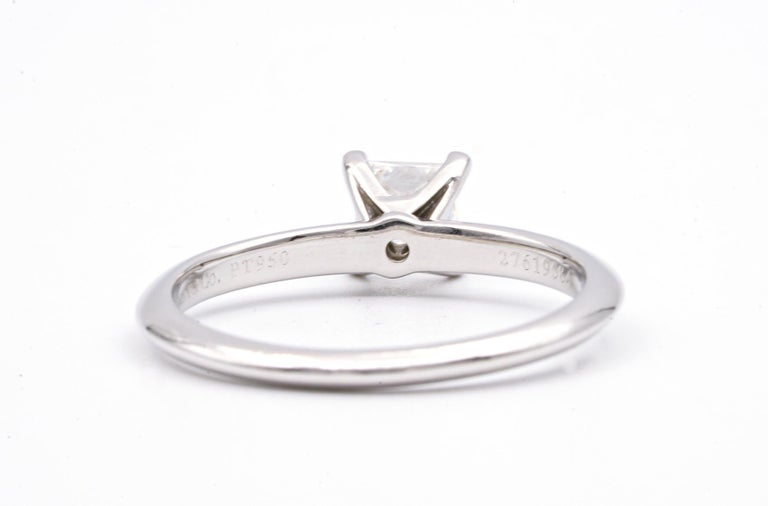Tiffany & Co. Engagement Ring with .54 Carat Princess Cut Centre in Platinum In Excellent Condition In New York, NY