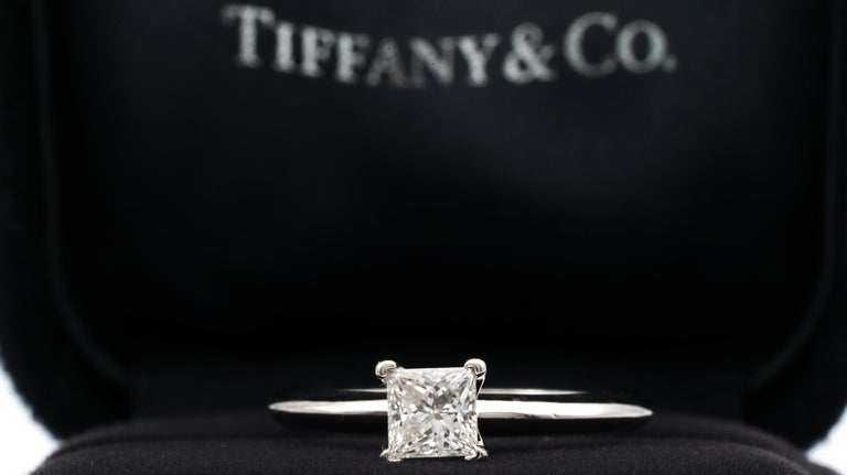 Tiffany & Co. Engagement Ring with .54 Carat Princess Cut Centre in Platinum 1