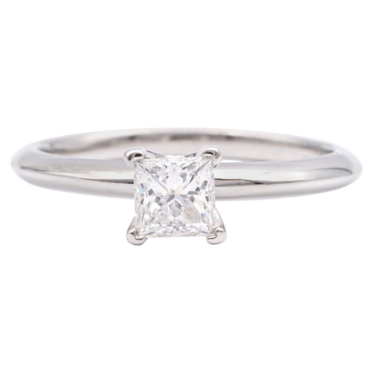 Tiffany & Co. Engagement Ring with .54 Carat Princess Cut Centre in Platinum