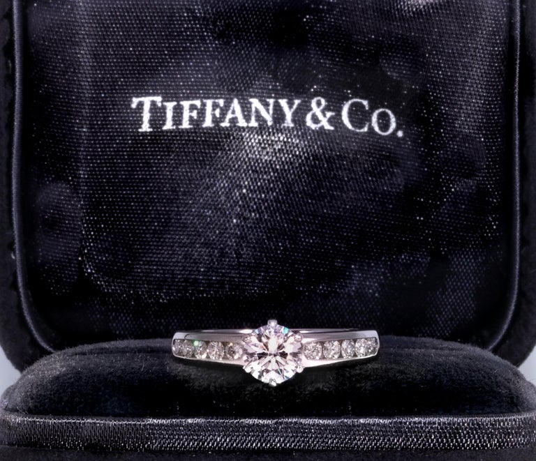 Contemporary Tiffany & Co. Engagement Ring with .71 Carat Round Brilliant Centre in Platinum For Sale