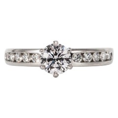 Tiffany & Co. Engagement Ring with .71 Carat Round Brilliant Centre in Platinum