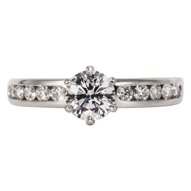Tiffany & Co. Engagement Ring with .71 Carat Round Brilliant Centre in Platinum For Sale