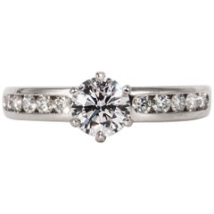 Tiffany & Co. Engagement Ring with .73 Carat Round Brilliant Centre in Platinum