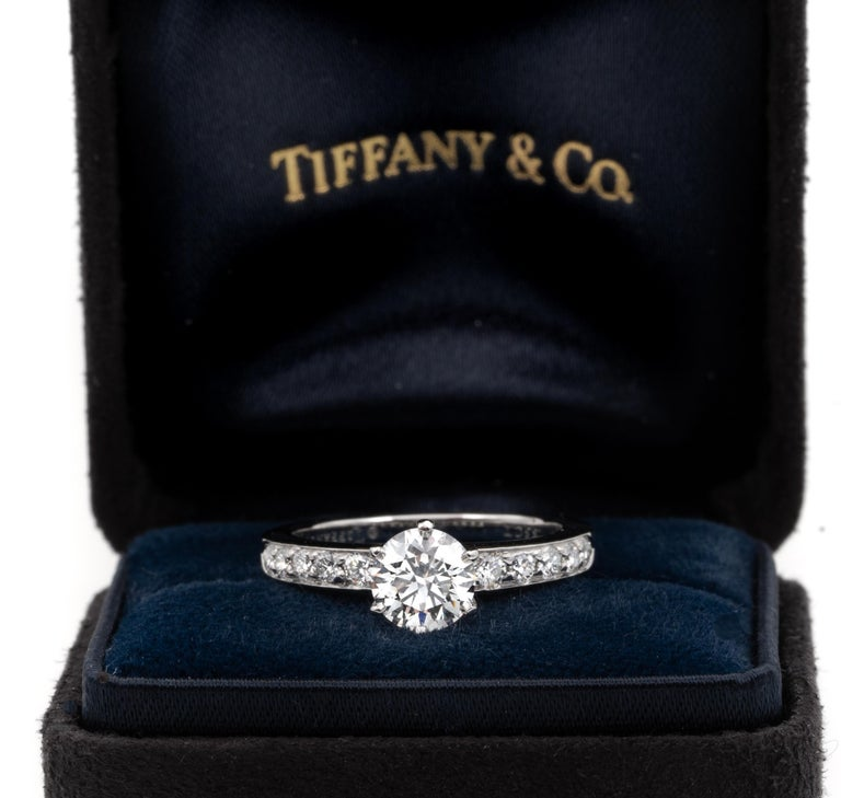 Tiffany & Co. Engagement Ring with .85 Carat Round Brilliant Centre in Platinum For Sale 8