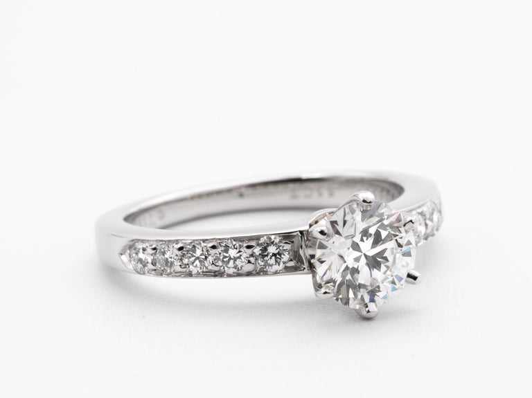 Round Cut Tiffany & Co. Engagement Ring with .85 Carat Round Brilliant Centre in Platinum For Sale
