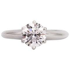 Tiffany & Co. Engagement Ring with .91 Carat Round Brilliant Centre in Platinum