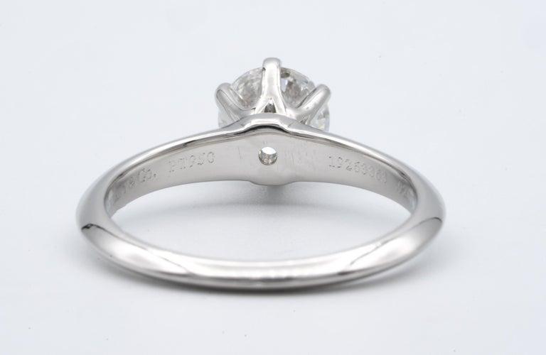 Round Cut Tiffany & Co. Engagement Ring with .92 Carat Round Brilliant Centre in Platinum