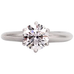 Tiffany & Co. Engagement Ring with .92 Carat Round Brilliant Centre in Platinum