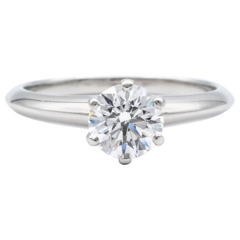 Tiffany & Co. Engagement Ring with .92 Carat Round Brilliant Centre in Platinum