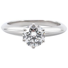 Tiffany & Co. Engagement Ring with .96 Carat Round Brilliant Centre in Platinum