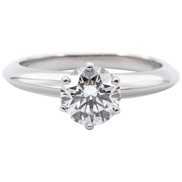 Tiffany & Co. Engagement Ring with .96 Carat Round Brilliant Centre in Platinum For Sale