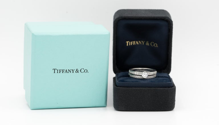 Tiffany & Co. Engagement Ring with Channel-Set Diamond Band in Platinum For Sale 4
