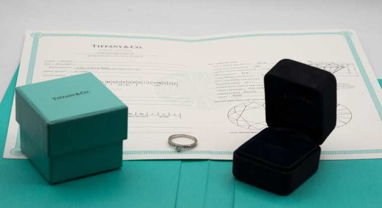 Tiffany & Co. Engagement Ring with Channel-Set Diamond Band in Platinum For Sale 5