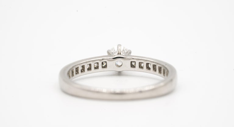 Tiffany & Co. Engagement Ring with Channel-Set Diamond Band in Platinum In Excellent Condition For Sale In New York, NY