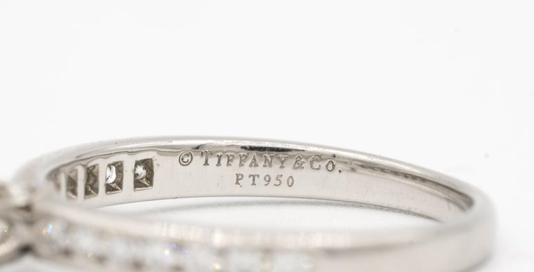 Women's or Men's Tiffany & Co. Engagement Ring with Channel-Set Diamond Band in Platinum For Sale