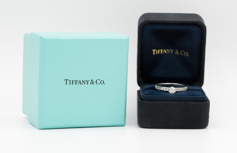 Tiffany & Co. Engagement Ring with Channel-Set Diamond Band in Platinum For Sale 3