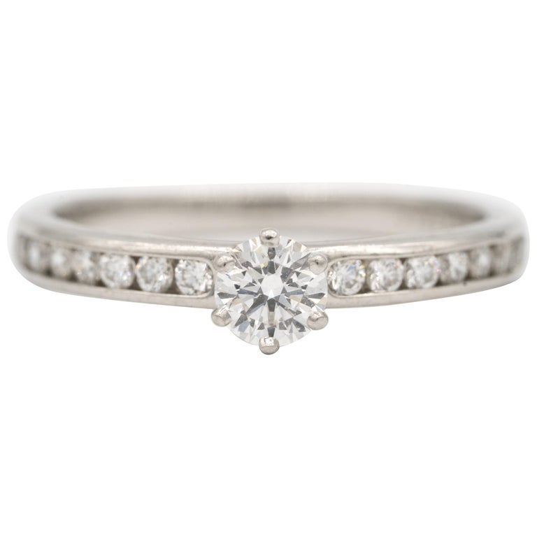 Tiffany & Co. Engagement Ring with Channel-Set Diamond Band in Platinum For Sale