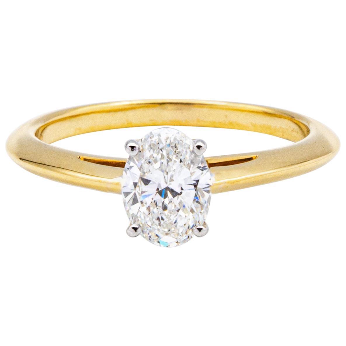 Tiffany & Co. 18K Yellow Gold + Plat Oval Diamond Engagement Ring .79 Ct G VS1
