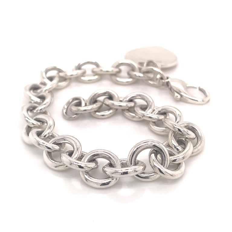 Tiffany & Co. Estate Bracelet with Heart Charm Sterling Silver For Sale 8