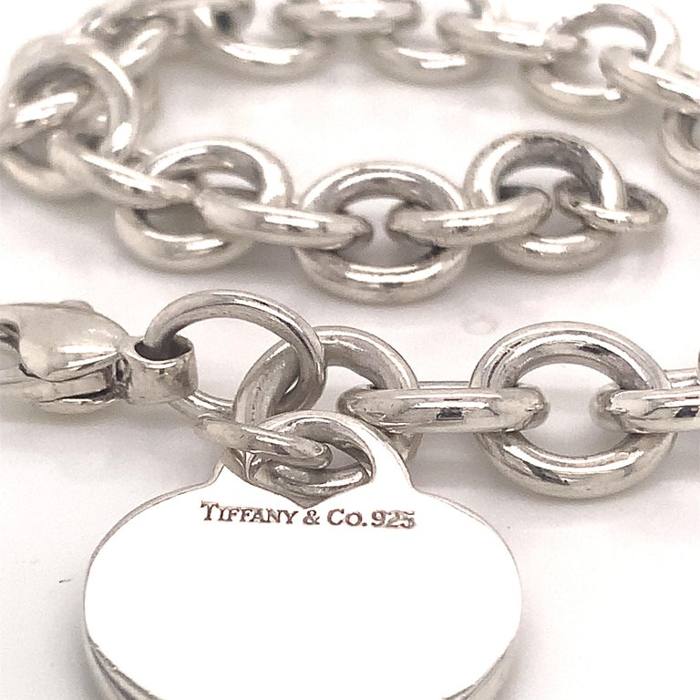 Women's Tiffany & Co. Estate Bracelet with Heart Charm Sterling Silver For Sale
