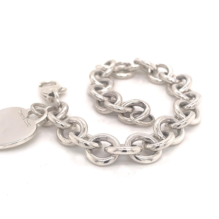 Tiffany & Co. Estate Bracelet with Heart Charm Sterling Silver For Sale 5