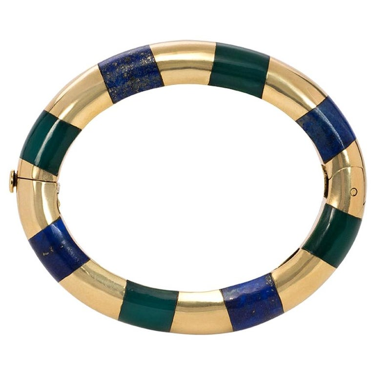 Tiffany & Co. Estate Gold Bangle Bracelet with Inlaid Lapis and Green Onyx For Sale