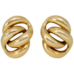 Tiffany & Co. Estate Gold Clip Earrings of Curb Link Design
