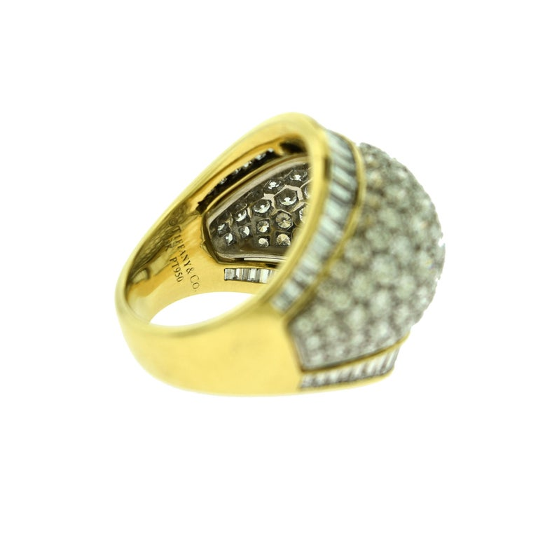 Round Cut Tiffany & Co. Estate Round and Baguette Platinum Gold Dome Cocktail Ring For Sale