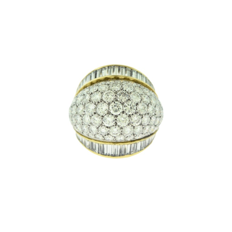 Tiffany & Co. Estate Round and Baguette Platinum Gold Dome Cocktail Ring In Good Condition For Sale In Miami, FL