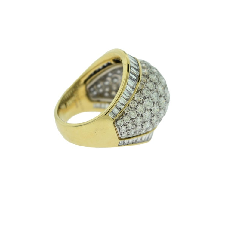 Women's or Men's Tiffany & Co. Estate Round and Baguette Platinum Gold Dome Cocktail Ring For Sale