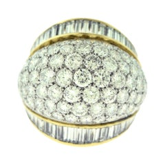 Tiffany & Co. Estate Round and Baguette Platinum Gold Dome Cocktail Ring