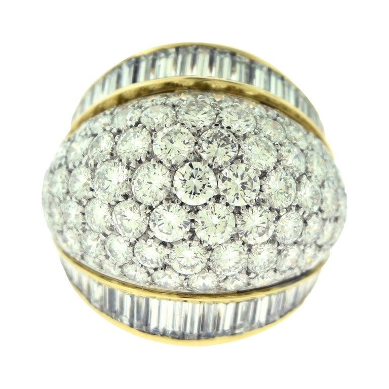 Tiffany & Co. Estate Round and Baguette Platinum Gold Dome Cocktail Ring For Sale