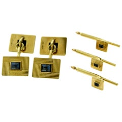 Tiffany & Co. Estate Yellow Gold Sapphire Cufflinks Stud Dress Set