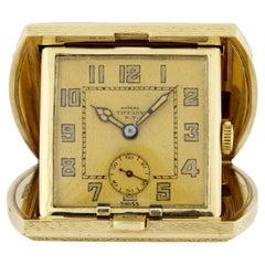 Tiffany & Co. ESZEHA Yellow Gold Travel Desk Clock, ca. 1920s