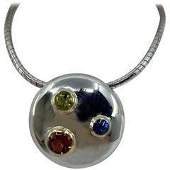 Tiffany & Co. Etoile 18 Karat Gold and Silver Sapphire Peridot Pendant Necklace