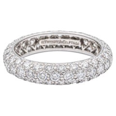 Tiffany & Co. 3 Row Etoile Diamond Pave Platinum Eternity Band Ring 1.51 Ct Totl