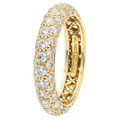 Tiffany & Co. Etoile 3 Row Pave Diamond Band Ring 18K Gold 1.70 Cts