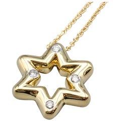 Tiffany & Co. Etoile Diamond 18 Karat Gold David Star Chain Necklace