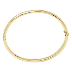 Tiffany & Co. Etoile Diamond 18k Yellow Gold Platinum Bangle Bracelet