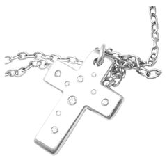 Tiffany & Co. Etoile Diamond Cross White Gold Pendant Necklace