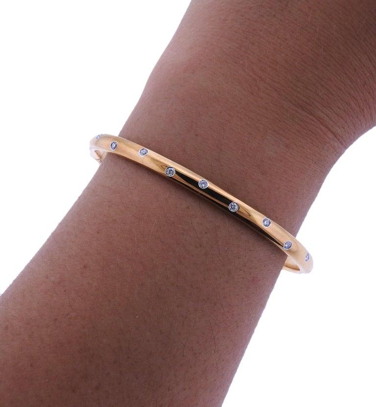 Tiffany & Co. Etoile Diamond Gold Platinum Bangle Bracelet For Sale 1