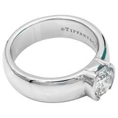 Tiffany & Co. Etoile Diamond Ring PT950 1.27 Carat E VVS1 Round Diamond