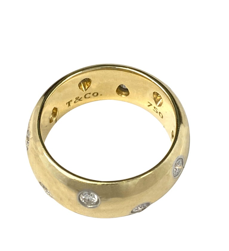 Round Cut Tiffany & Co. Etoile Gold Platinum and Diamond Wide Band Ring For Sale