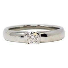 Tiffany & Co. Etoile Ideal Cut Diamond Solitaire Ring in Platinum .20 Carat