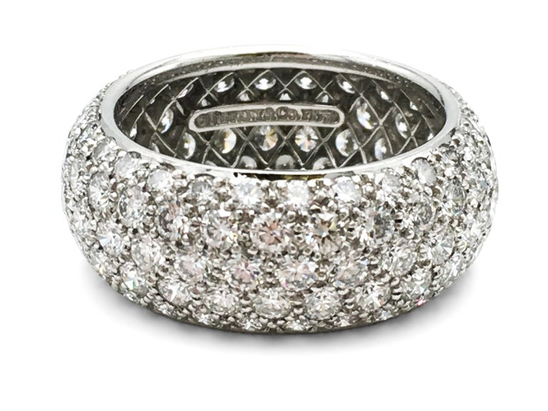Authentic Tiffany & Co. 'Etoile' five-row band ring crafted in platinum and set with an estimated 3.30 carats of high-quality round brilliant cut diamonds. Ring size 5. Signed Tiffany & Co., PT950. The ring is not presented with original papers or