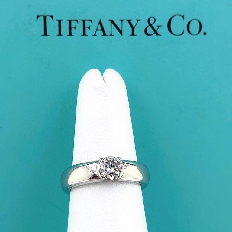 Tiffany & Co. Etoile Round Diamond 0.56 TCW H VVS2 Engagement Ring Platinum For Sale 8