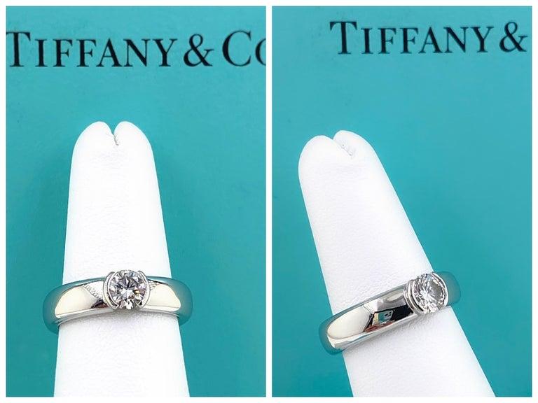 Tiffany & Co. Etoile Round Diamond 0.56 TCW H VVS2 Engagement Ring Platinum For Sale 12