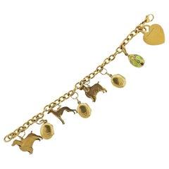 Tiffany & Co. Faberge Gold Enamel Diamond Charm Bracelet