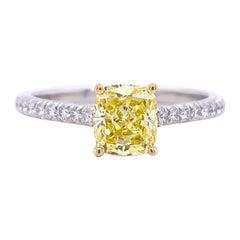 Tiffany & Co. Fancy Intense Yellow Cushion NOVO 1.28 Tcw Diamond Engagement Ring