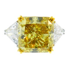 Tiffany & Co. Diamond Platinum Ring 12.12 Carat Fancy Deep Brownish Yellow GIA